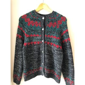 Vintage Hand Knit Cardigan Grandpa Sweater